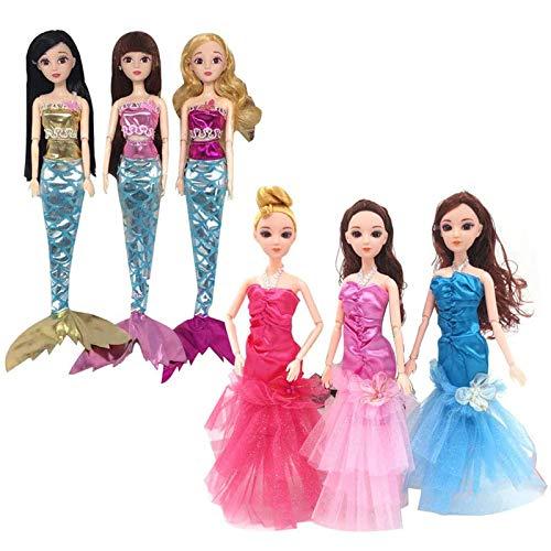 WENTS Puppe Meerjungfrau Kleid 6Pcs Fashion Meerjungfrau Kleid Disney Metallic Shiny Sparkle Spielen Sommerkleid Puppenkleider Geschenkset Prinzessin Puppen Zubehör