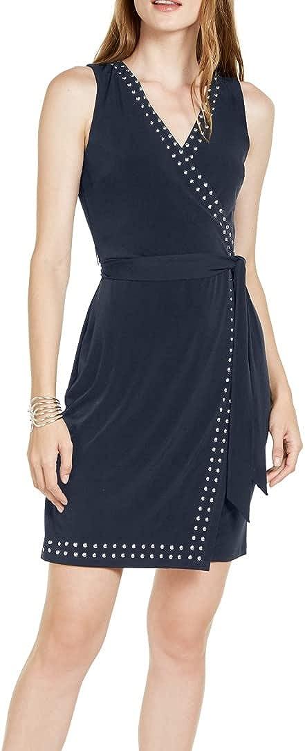 INC Womens Navy Sleeveless V Neck Short Faux Wrap Cocktail Dress Size XL