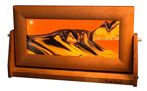 Exotic Sands Crafted Quality USA - Md23 Medium Cherry Frame (Sunset Orange) Each Sand Picture is Crafted with Pristine Sands sourced from Around The World.