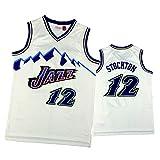 HTKJG Camiseta de baloncesto Stockton, Jazz 12 # Vintage Gold Label Sports Chaleco, malla transpirable de secado rápido (S-XXL), color blanco y XL