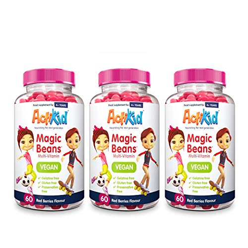 3X ActiKid Magic Beans Vegan Multi-Vitamin 60x Red Berries Flavour | Gelatin Free | Kid's Vitamin | Immune System