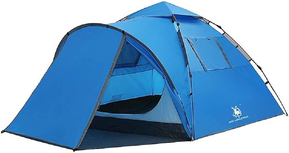 WFF Tente de Camping en Plein air, Tente de Camping autoportée pour familles à 3 étages avec Double Couche et imperméable à la Pluie,Bleu,Cm