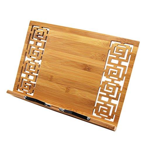 Atril, soporte de lectura para iPad o libro de recetas, para partituras o libros, ideal para el despacho o la cocina, regulable en 5 posiciones, de madera de bambú, color estilo 2