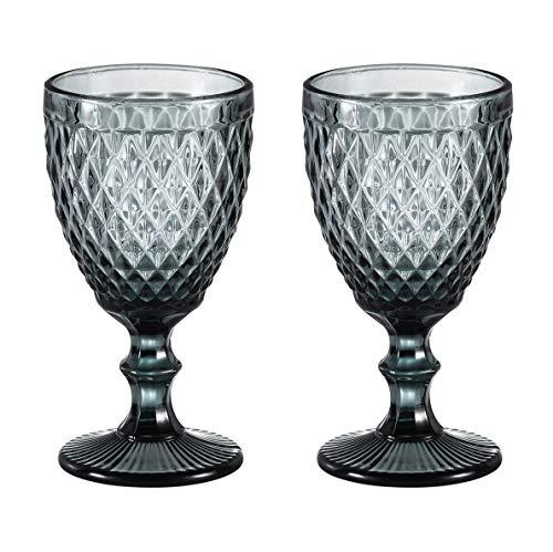 HUHUXIAOWU Copa de Vino, Copa de Cristal Coloreada, 6 oz / 10 oz, diseño Vintage en Relieve, Copa de Cristal Transparente...