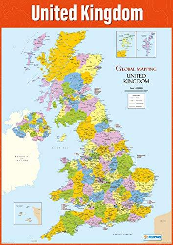 Cartina del Regno Unito | Poster geografico | Carta lucida misura 850 mm x 594 mm (A1) | Poster di classe geografica | Schede educative by Daydream Education