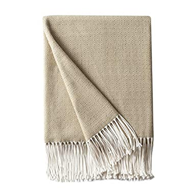 BOURINA Decorative Diamond Lattice Faux Cashmere Fringe Throw Blanket Lightweight Soft Cozy for Bed or Sofa Farmhouse Outdoor Throw Blankets, 50  x 60 , Beige