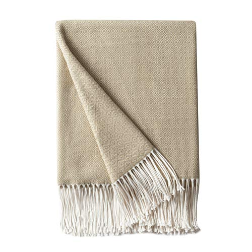 Bourina Decorative Diamond Lattice Faux Cashmere Fringe Throw Blanket Lightweight Soft Cozy for Bed or Sofa Farmhouse Outdoor Throw Blankets, 50
