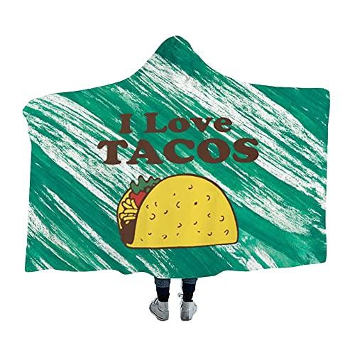Eamibay I Love Tacos - Manta con capucha y estampado en 3D divertido regalo de peluche 40 x 50 pulgadas