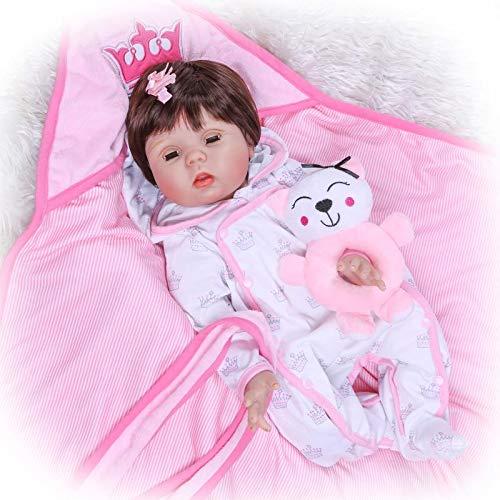 HOOMAI 22pulgadas 55cm Bebes Reborn Baby niña Toddler realistas Recien Nacidos Blanda Silicona niño Ojos Abiertos Verdadero