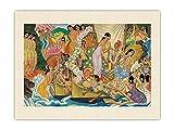 Pacifica Island Art Aloha… Universal Word – Antigua ceremonia hawaiana para un viaje (Huakaʻi) – Vintage Ocean Liner Menu Cover por Eugene Savage c.1940s – Tela de tela orgánica RAW de 45,7 x 61 cm