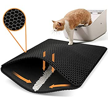 Polarduck Cat Litter Mat Cat Litter Trapping Mat Honeycomb Double Layer Design Urine and Water Proof Material Scatter Control,Less Waste,Easier to Clean,Washable