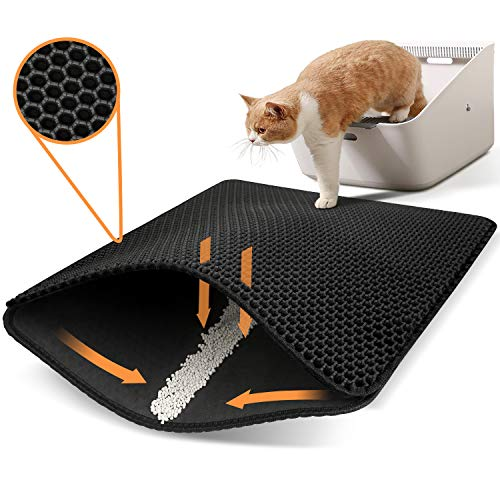 Polarduck Cat Litter Mat Cat Litter Trapping Mat, Honeycomb Double Layer Design, Urine and Water Proof Material, Scatter Control, Special Side Handles...