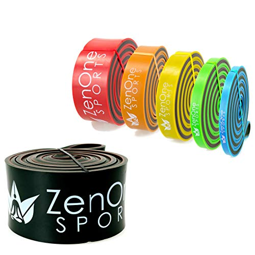ZenBands Power Resistance Bands, Einzel-Fitnessband in 6 versch. Stärken zur Auswahl, Einzelwiderstandsband für Training Zuhause, Klimmzugband, inkl. E-Book & Workout-Guide (XX-Heavy)