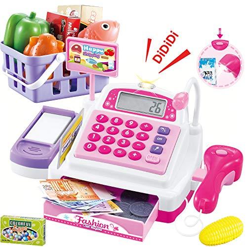 Sotodik 34PCS Caja registradora Juguetes para niñas Juegos de imaginación Supermercado Tienda Juguetes Caja Escáner Juguetes con Sonidos y Juegue Comida, Dinero, Juguetes de supermercado y más