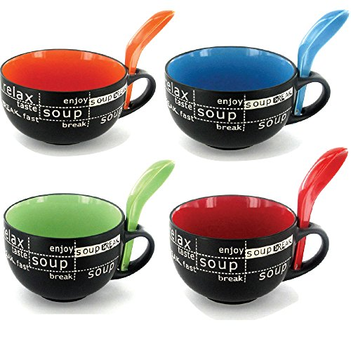Bowl with Spoon, Set of 4 Bowls With Assorted Colors and Matching Spoon, High-Grade Ceramic for Soups, Miso soup, Ramen and More with Distinctive Spoon Holder