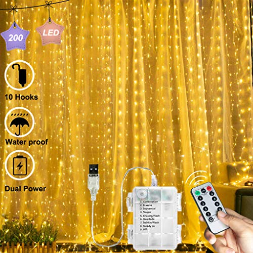Chipark 200 LED Curtain Lights USB Or Battery Powered Window Lights 2m x 2m Curtain Fairy Light 8 Modes Remote Control Waterproof LED Copper Wire String Lights for Outdoor Indoor Party (Warm White)