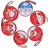 Candy Box mit Reißverschluss, LLMZ 6 Stück Münze Geldbörse Kopfhörer Tasche Süßigkeiten-Aufbewahrungstasche Für Xmas Baum Santa Claus Festival Ornaments Xmas Geschenk(6 Muster)