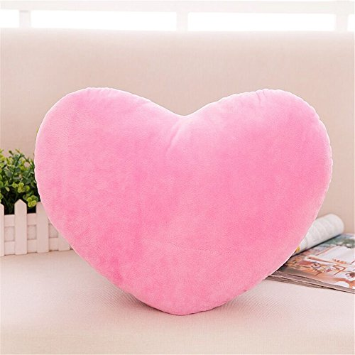 S-ssoy Plush Pillow Heart Shape Cushion Fluffy Throw Pillows Decorative Back Cushions for Friends Valentine's Day (Light Pink)