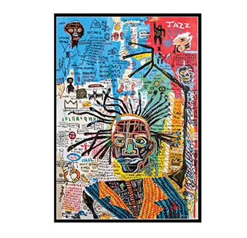 Déco Murale Art Basquiat, Art Abstrait Contemporain Du Graffiti De Rue Poster Portrait De Personnage Peinture Sur Toile HD Imprimé Oeuvre De Décoration Murale Pour Accueil Bureau,70×100cm
