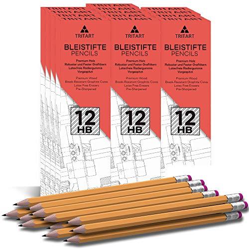 Tritart Bleistifte I 156 Bleistifte mit HB Mine + Radiergummi I HB Bleistift Set mit angespitzter Mine für Schule + Büro + Skizzieren I 13 Packungen je 12 Holz-Bleistifte zum Zeichnen + Schreiben