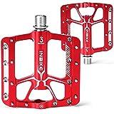 INBIKE Pedales Antideslizante De MTB Bicicleta, Pedales Plataforma De Aluminio con Rodamiento 9/16 para Bicicleta De Montaña Bicicleta De Carretera(Rojo)