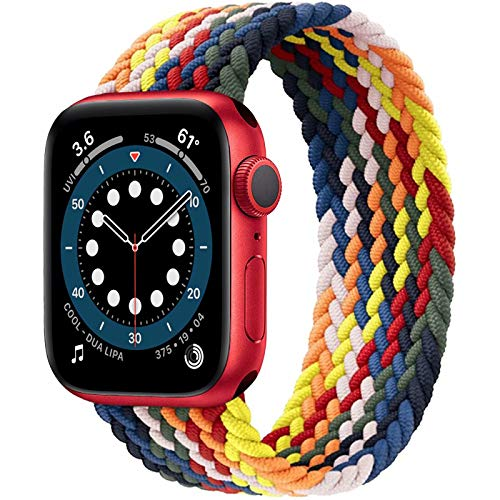 JONWIN Geflochtenes Solo Loop Kompatibel mit Apple Watch Armband,Elastic Nylon Sport Ersatzband für iWatch Serie 6/5/4/3/2/1,SE,Regenbogen,7
