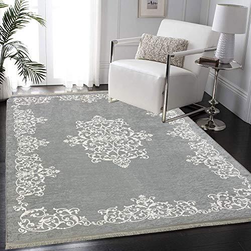 Siela Waschbarer Teppich Für Wohnzimmer, Küche Teppich Läufer Flur, Deko Modern, Teppiche Für Schlafzimmer, Esszimmer rutschfest Waschmaschine Küchen (Grau-1706, 80x150)