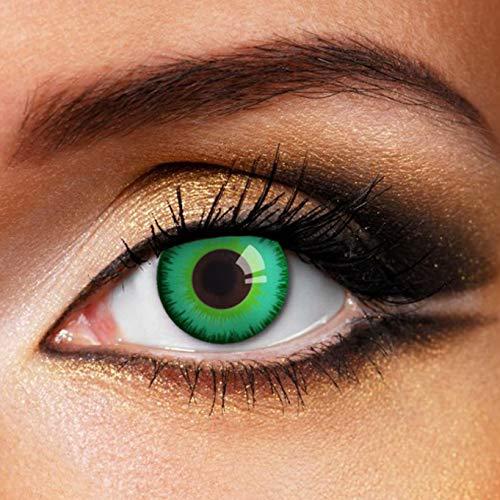 Partylens Farblinsen - Magic Green - weiche Kontaktlinsen - Jahreslinsen mit Kontaktlinsenbehälter Jahreslinsen, Grün, / BC 8.6 mm / DIA 14.5 mm / 0 Dioptrien