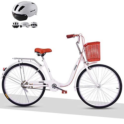 JACK'S CAT Womens Comfort Bikes, Gepäckträger Retro-Fahrrad-Rennräder, Single Speed Bicycle 22/24-Zoll-Komfort-Pendlerfahrradrahmen aus kohlenstoffhaltigem Stahl,Weiß