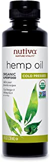 Nutiva Organic, Cold-Pressed, Unrefined Hemp Seed Oil from non-GMO, Sustainably Farmed Canadian Hemp, 8-ounces