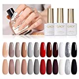 Best Gel Polishes - GAOYNude Gray GelNailPolishSet of12Colors with Top Coat Base Review