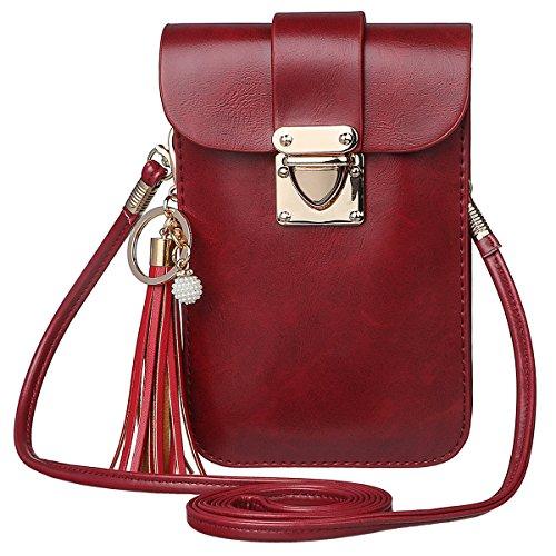 Shidan Damen PU Leder Stilvoll Einzel Schultertasche Handtasche mit Quasten Schlüsselbund für iPhone 11ProMax 11 XsMax X 8+ 7+ 6+, Samsung S8 S9, Huawei P8 P9 Lite und andere