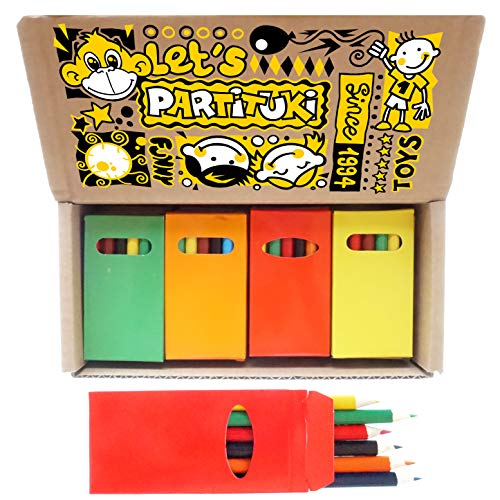 Partituki 60 Packungen Buntstifte für Kinder Jeweils mit 6 Mini-Farbstiftstiften. Insgesamt 360 Stifte. Ideal für Partytaschen, Schulen, Klassenzimmer