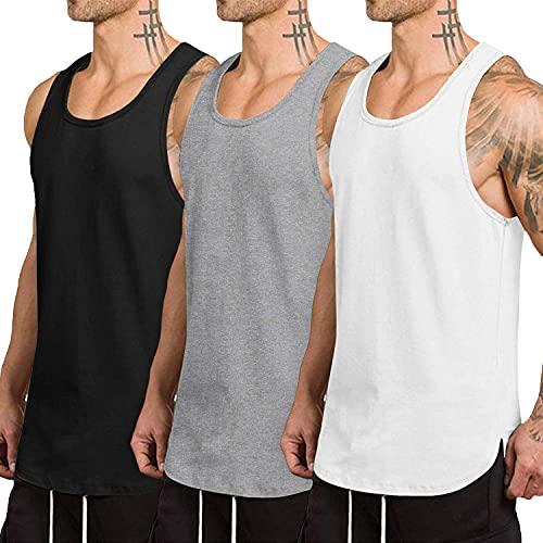 COOFANDY Pack de 3 camisetas sin mangas para hombre, secado rápido, para gimnasio, musculación, fitness, culturismo negro, gris y blanco. M