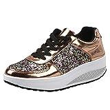 BaZhaHei Paillettes Sneakers con Zeppa Fondo Spesso Donna Eleganti,Scarpe Sportive Ragazzo Casual Traspirante Soft Scarpe da Corsa Shoes con Sportive All'aperto