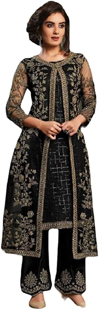 Henith Collection Ready to Wear Pakistani Style Embroidered Koti Salwar Kameez Salwar Suit for Women (Black 1, L)