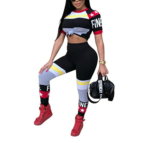 87f03f4efc4b Halfword Womens 2 Piece Outfits Race Car Bodycon Pants Set Tracksuits  Sweatsuits S