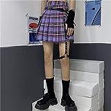 WEDFGX Harajuku Streetwear Gonna Donna Punk Moda Vita Alta Gonna a Pieghe A-Line Gonna Scozzese Viola Viper Donna Non Include Cintura
