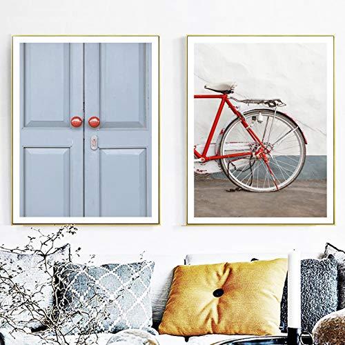 Bicicletas de puerta azul carteles nórdicos impresiones de arte de pared decoración...
