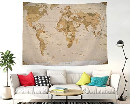 ZSYNB Wandkleed, wereldkaart, wandkleed, mandala, wandkleed, tafelkleden, sofaovertrekken, hippie boho, strandlaken, muurkunst voor slaapkamer en thuis. No frame 200 x 150 cm.