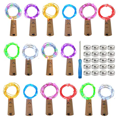 mifengda 16 Pack Wine Bottle Lights 8 Color Cork Shaped 20 Micro LEDs Wire Bottle Lights Battery Powered Copper Wire Lights Artificial Cork Wine Bottle Fairy Lights (2m/7.2ft)+20Pcs Extra Batteries