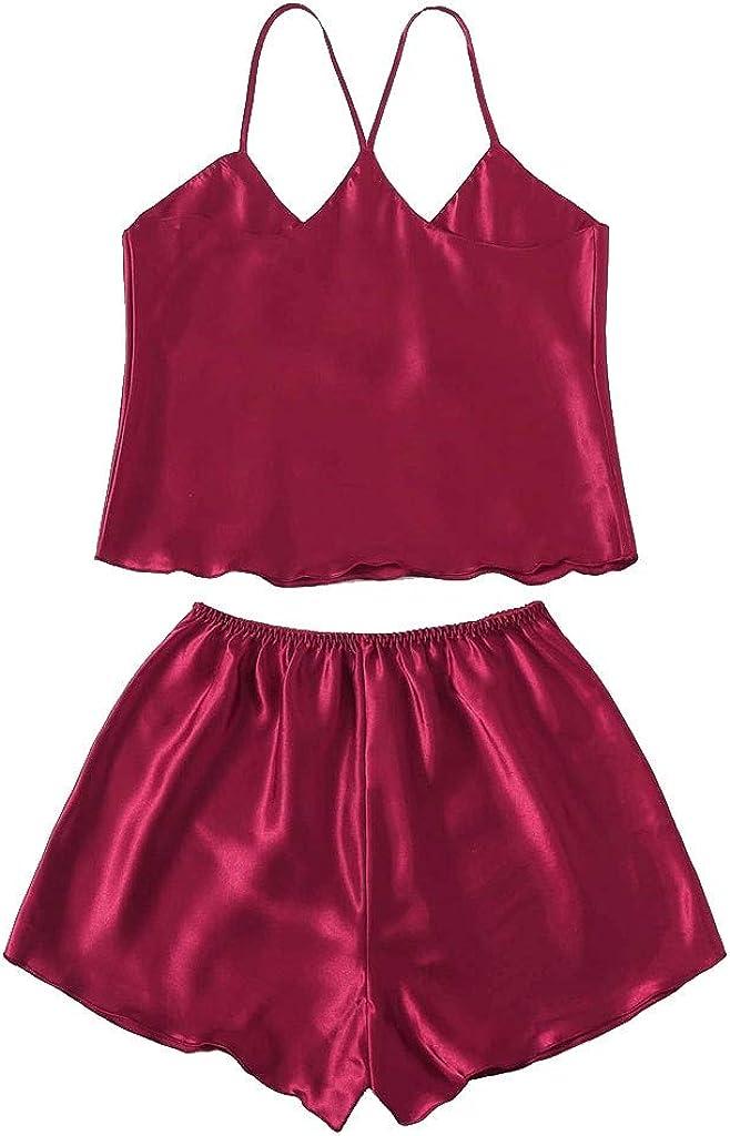 RYGHEWE Womens Sexy Lingerie Satin Sleepwear Pajamas Cami Tops and Shorts Set Nightwear