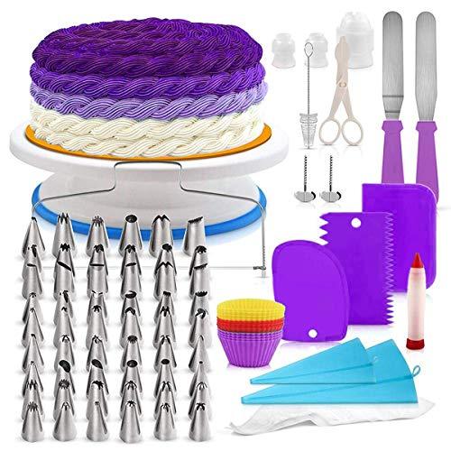 Joyeee 106 Piezas Herramientas de Decoración de Pasteles Kit, Torta Giratoria, Boquillas,...