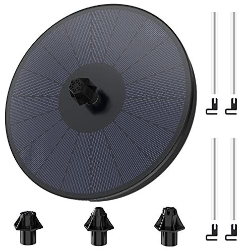 HOMMAND Fuente Solar para Jardin, 9v 3.5w Bomba de Fuente Solar con Batería de 900mAh, Fuente de Agua Solar para Baño de Pájaros, Decoración de Jardines de Estanques (180mm)