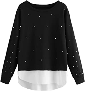 ba079ec871f ROMWE Women s Plus Size Long Sleeve Pearls Asymmetrical Cotton Sweatshirt
