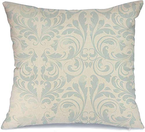 Decoración Throw Pillow Cover Funda de cojín Rococó Flourish Design Hoja Damasco Seda Patrón Antiguo Vintage Blanco Renacimiento Barroco Retro Funda de Cojine 45 X 45CM