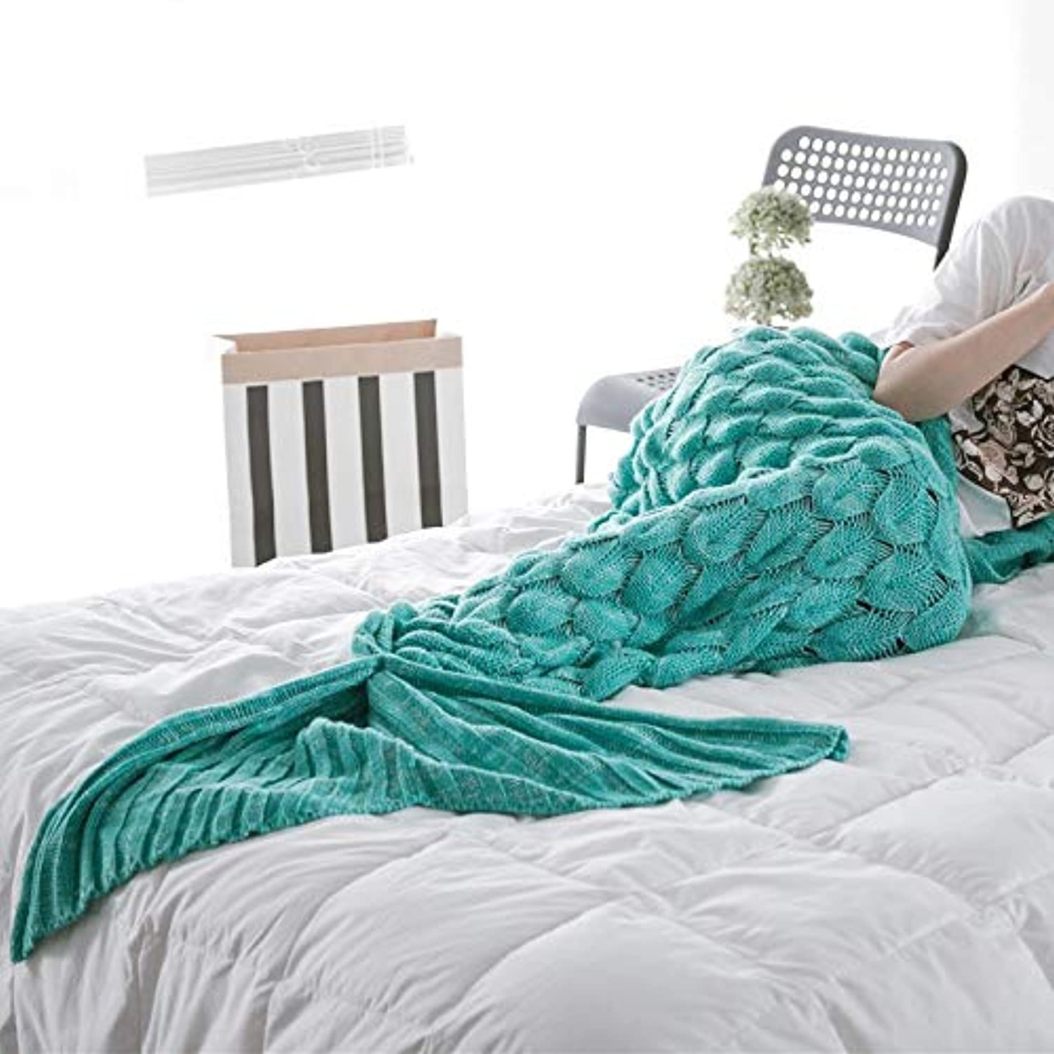 Cotton Palace Mermaid Blanket Plaid Knitted Plaids Bed Cover Mermaid's Tail Throw Knit Crochet Sleeping Bag