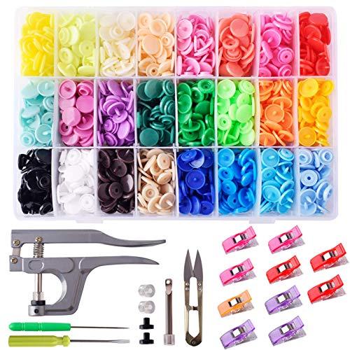 Snaps Plástico T5 400 piezas Botones Redondos en 24 Colores Diferentes + 10pcs Clips Costura + Snap Alicate + 1 Tijera