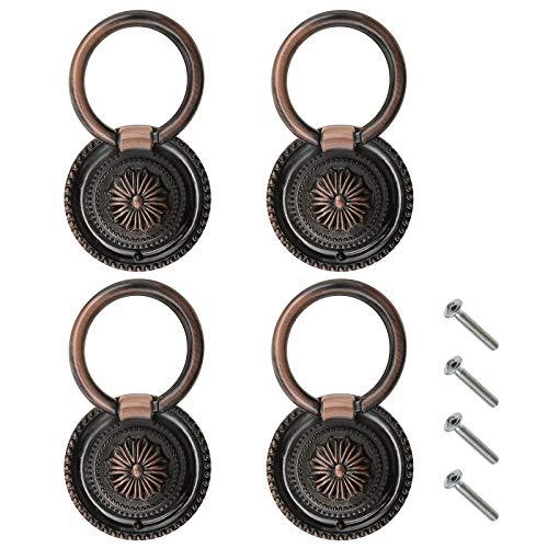4 pomelli rotondi da 46 mm, con viti, in lega di zinco rosso, bronzo, per armadietti, credenze, cassetti, stile retrò