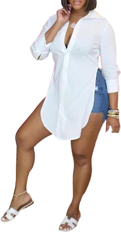LYANER Women's Collar V Neck Button Front Long Sleeve Slit Hem Long Shirt Blouse Top